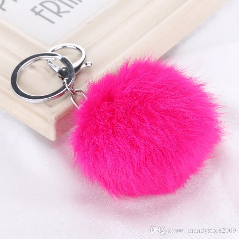 حقيقي أرنب فرو الكرة سلاسل مفتاح السيارة متعدد الألوان أرنب فرو كرات قلادة مع فضي سلسلة سيارة مفتاح خواتم لينة الفراء الكرة
