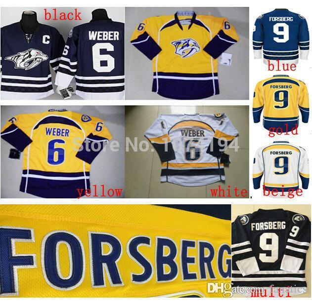 quality design 5c824 eada3 2016 Cheap Nashville Predators #9 Filip Forsberg Jersey #6 Shea Weber  Jersey Gold Yellow White Blue Stitched Jersey C Patch