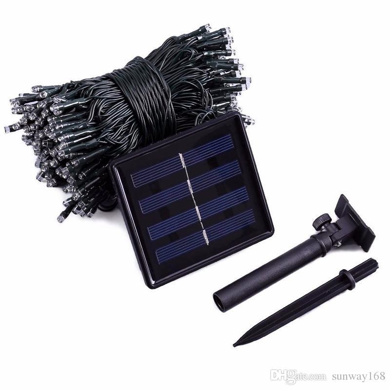 Nuevo LED luces solares de cadena 22M 200 LEDs es 8 modos Energía solar exterior impermeable luces de cadena solar para el jardín decoración de Navidad