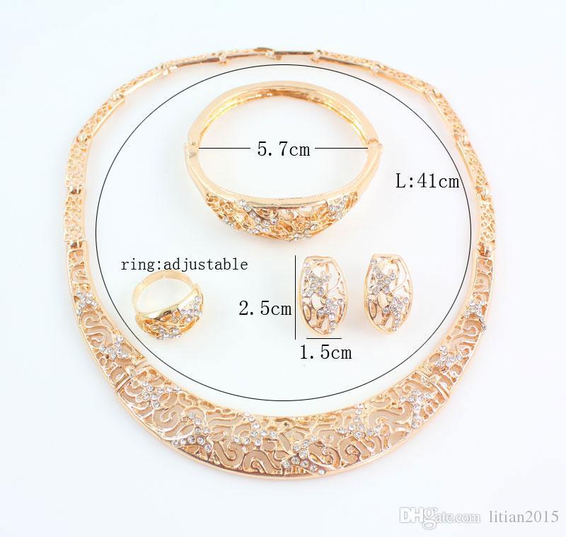 Conjunto de Jóias Finas Para As Mulheres Moda Casamento De Cristal Banhado A Ouro Oco Colar Brincos Conjuntos de Anéis Pulseira Conjuntos de Acessórios
