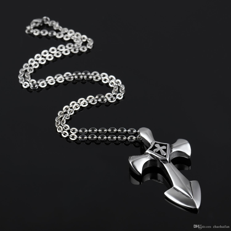 Neuankömmling 671c1 3618b ZHF JEWELRY Vintage Halskette Männer Edelstahl Kreuz Halskette Für Männer  Mode Anhänger Halsketten Coole Männer Schmuck Geschenk großhandel GSX1106