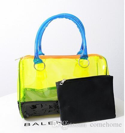 a3722d53cb43 Fashion Women Candy Color Transparent Bag Clear Beach Bags PVC Leather Bag  Shopping Bag See Thru Bag Handbag Tote Purse PVC Plastic Jo Totes Discount  ...