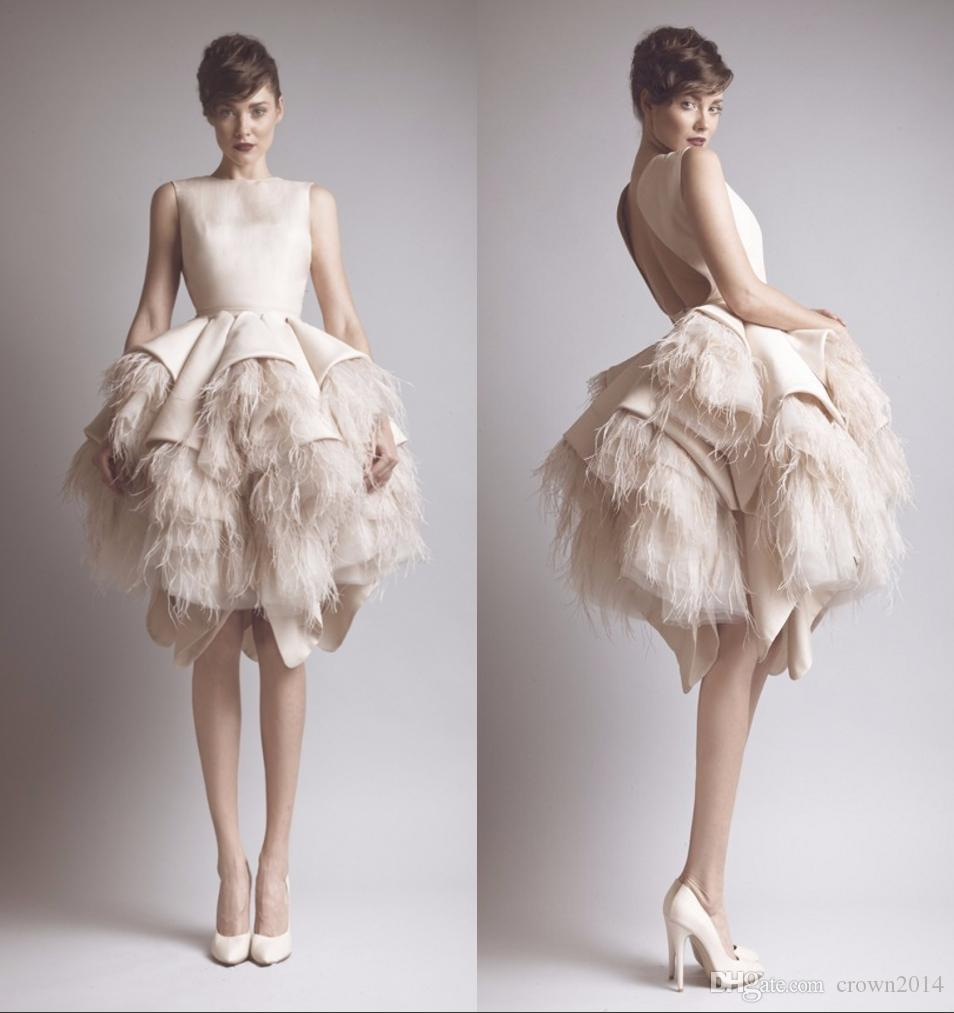 knee length dresses with feathers