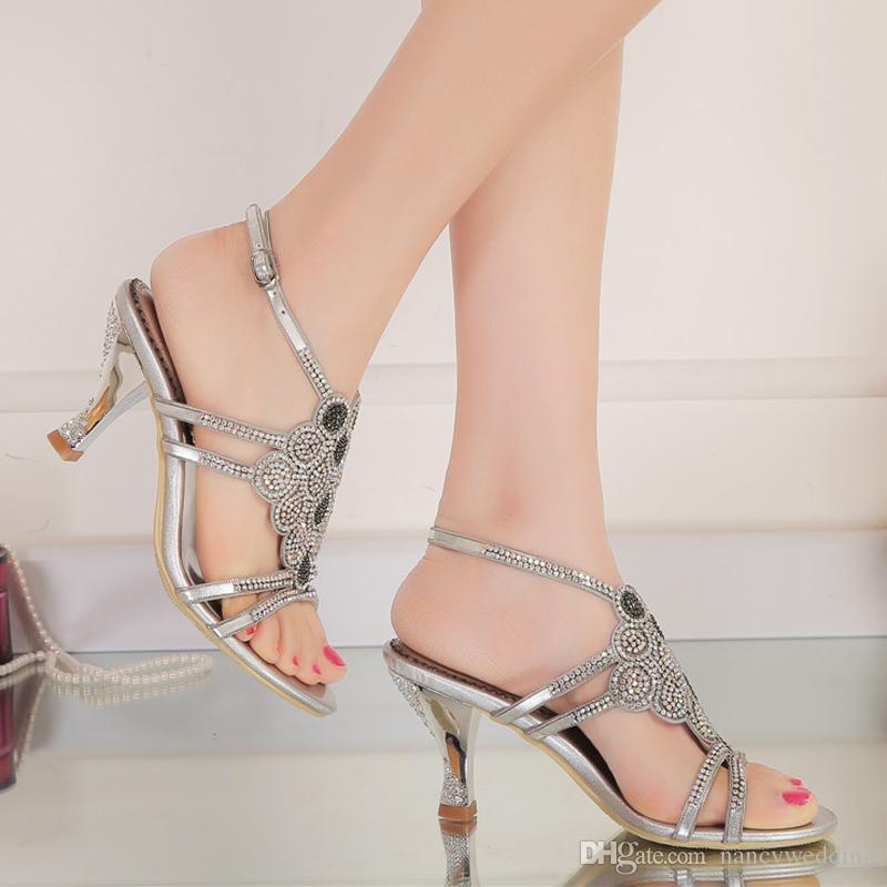 Sandali con cinturino alla caviglia Tacco alto Open Toe Shoes Strass Scarpe da sposa nuziali Plus Size Scarpe da ballo promenade oro argento