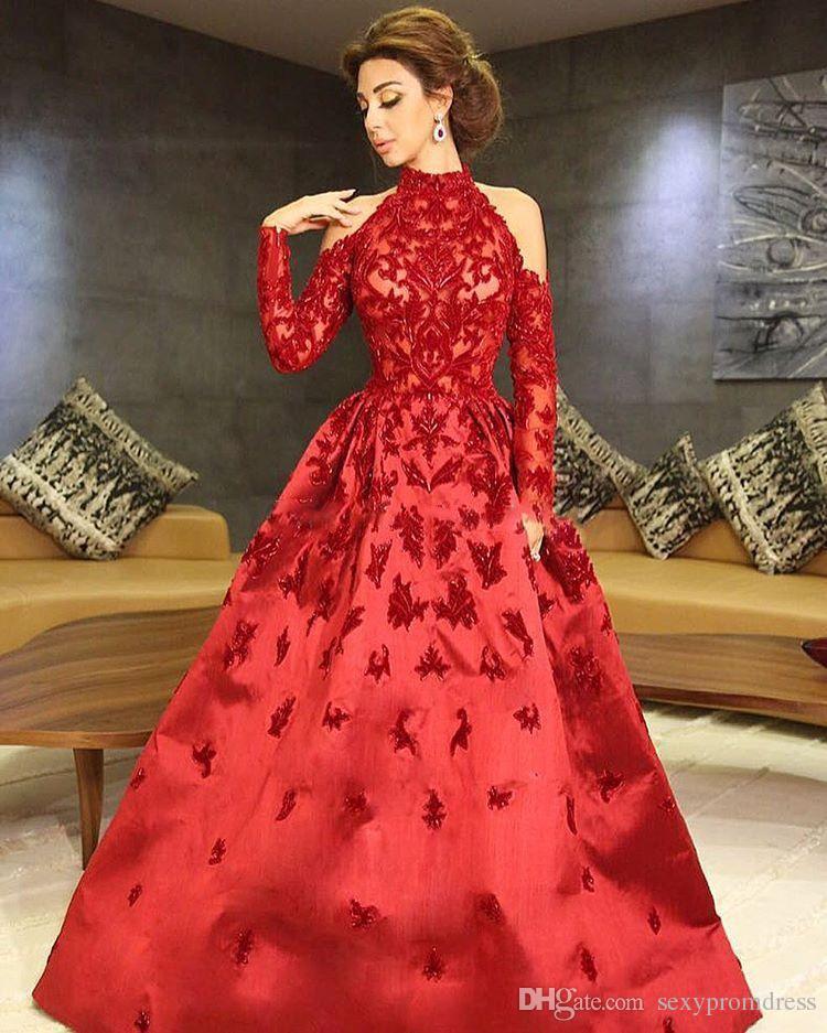 Cuello alto rojo Myriam Fares Vestidos de noche 2017 Halter Mangas largas Apliques Vestido de satén con cuentas Vestidos de famosos Vestidos de fiesta formales