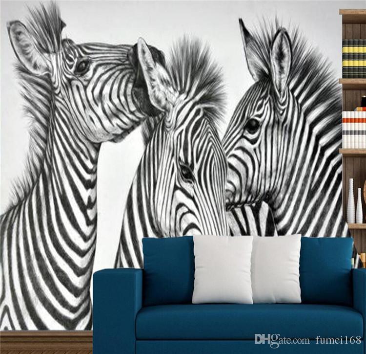 Zebra Pinto Animal Photo Wall Mural Living Walls Wallpaper 3D Papel de pared en relieve papel de parede do desktop Novedad Pinturas