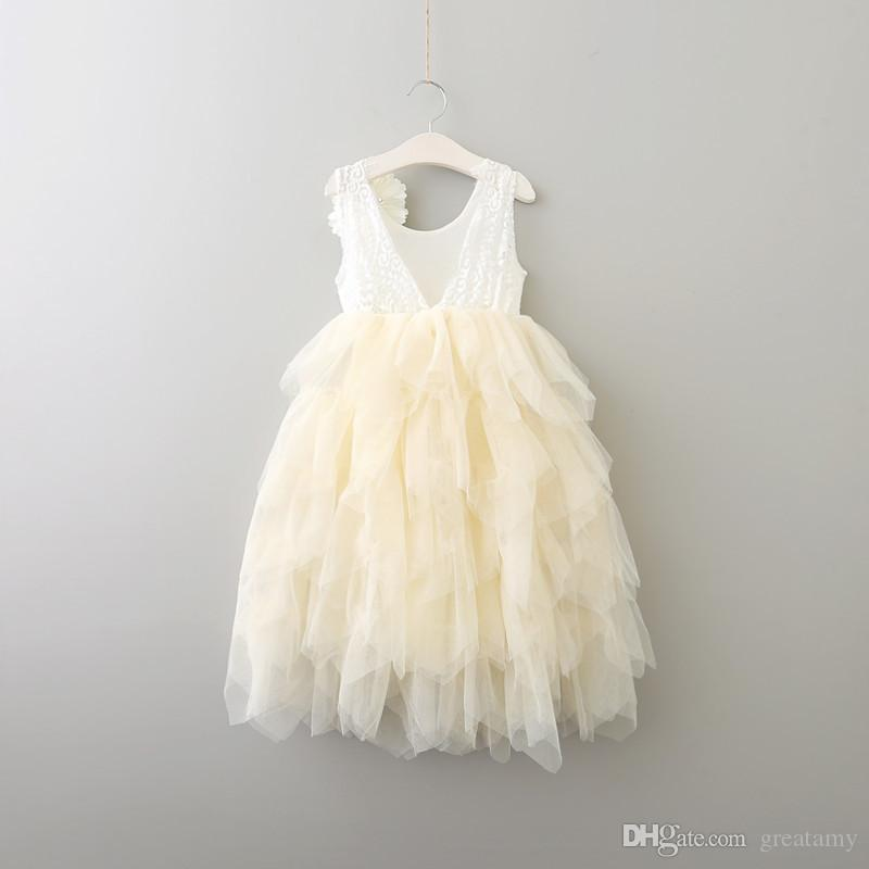 2017 baby girls lace TuTu princess dress cotton short sleeves Flowers dresses Kids Asymmetrical Clothing top quality