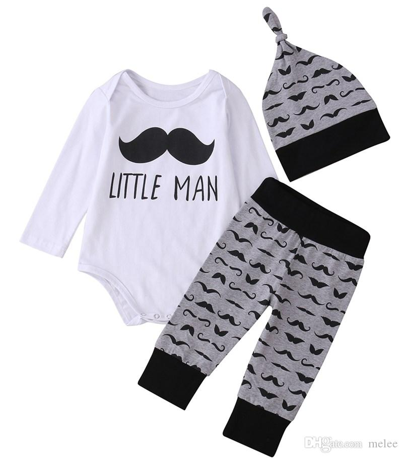 123de1189 2019 Newborn Baby Boys Girsl Clothes Long Sleeved Moustache Romper ...