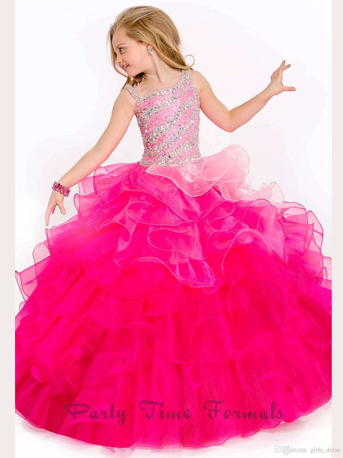 Compre 2016 Pefect Angle Cute Girls Dress Piso De Longitud Organza ...
