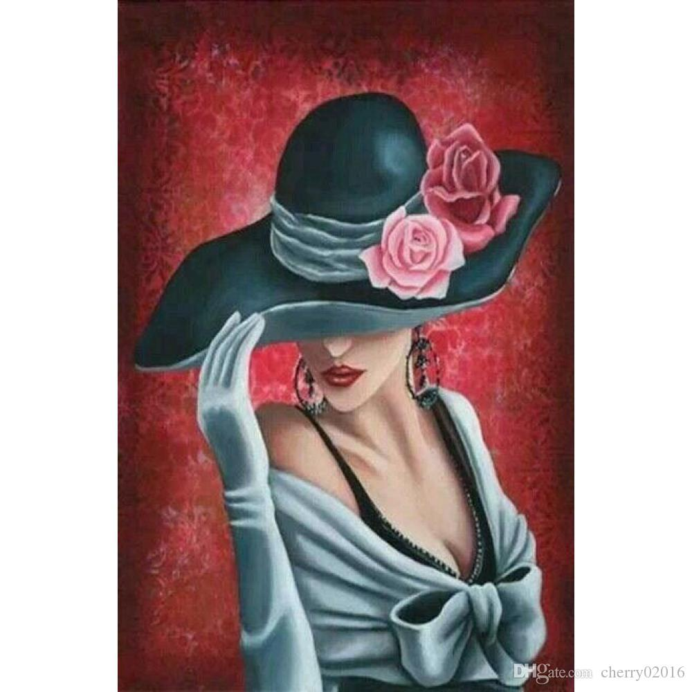 Abstract Art Lady With Rose Hat Hand Painted Oil Paintings Modern Canvas  For Wall Decor UK 2019 From Cherry02016 b4d548b774f