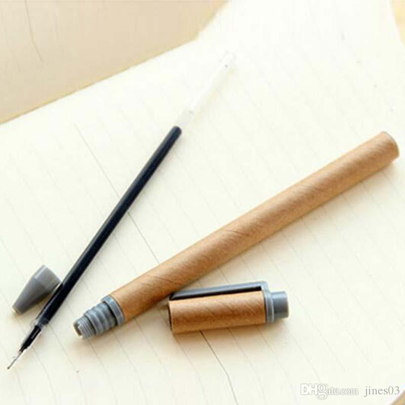 New Kraft Paper Pen Environmental Friendly Recycled Paper Ball Point Pen Wholesale Writing School Office Gel Pens