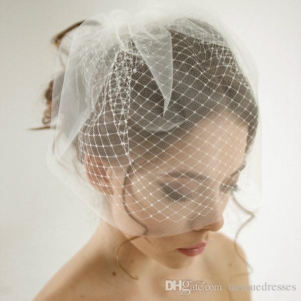 Ucuz Çift Katmanlı Birdcage Düğün Peçe Gelin Aksesuarları Beyaz / Fildişi Mesh Kısa Düğün Birdcage Veils Yüz Kapakları