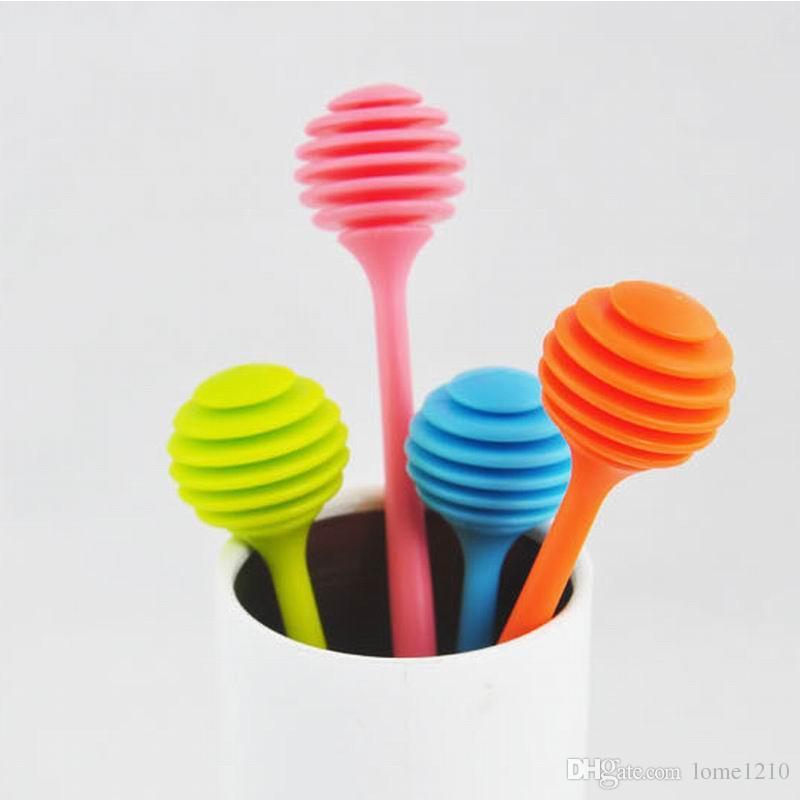 Bonito mel Colher vara para Honey Jar punho longo mistura Vara Acessórios de cozinha doce cor