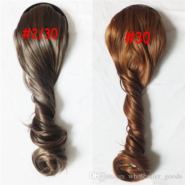 머리 조각 유럽과 미국 여성 머리 조각 조각 긴 곱슬 머리카락 옥수수 말꼬리와 연결된 고온 와이어