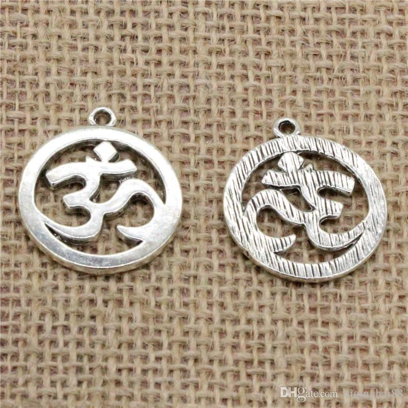 Wholesale 32pcs Charms Tibetan Silver/Antique Bronze/Gold plated Yoga OM 25mm Pendant for Jewelry DIY Hand Made Fitting