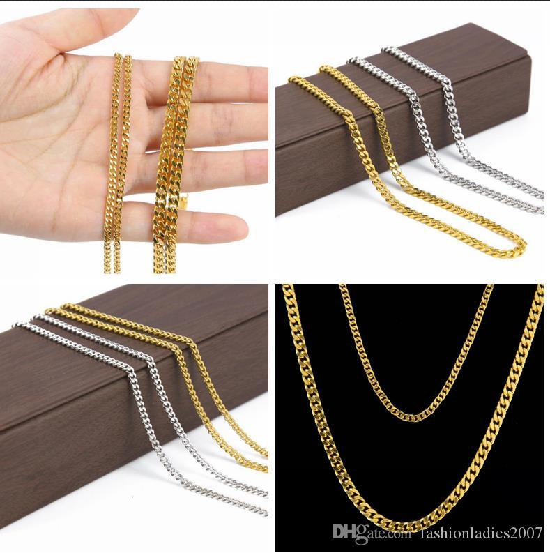 2dfea0de2e2d9 AAAAA stars 24K 3mm/5mm 30 inch Wide Solid Gold and silver Plated Small  Miami Cuban Curb Link Chain men Hip hop chain Necklaces jewelry