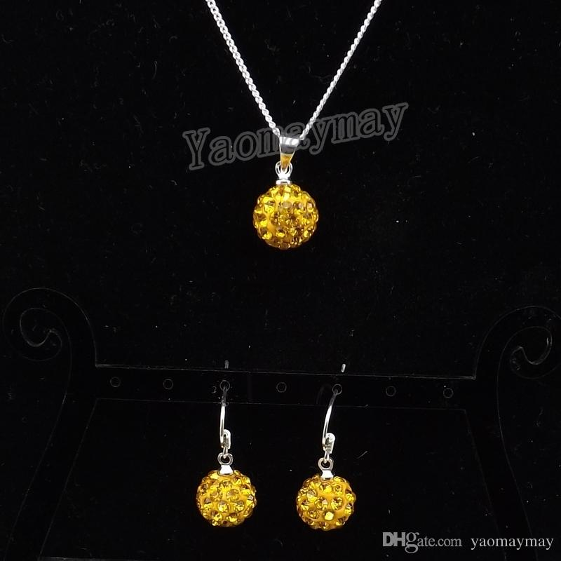 High Quality Rhinestone Jewellery Set Gold Color Disco Ball Pendant Earrings And Necklace For Women Wholesale