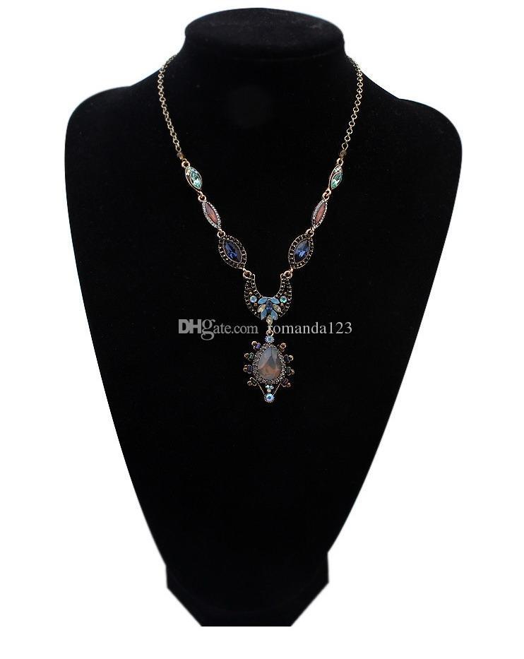 Envío libre de DHL 2016 moda Vintage collar de cadena de suéter neckalece media luna y collar de la cucharada accesorios para las mujeres