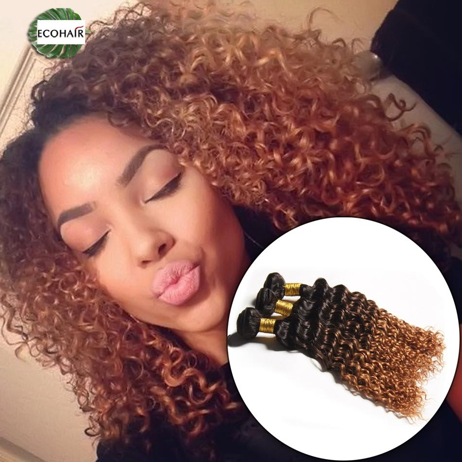 Ombre Deep Wave Bundles Mink Indian Human Hair 1b427 1b430