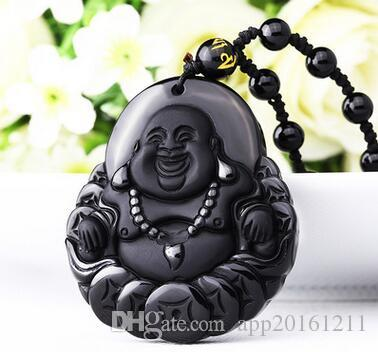Carved frosted Pure obsidian Money is the Buddha pendant Good luck crystal necklace pendant