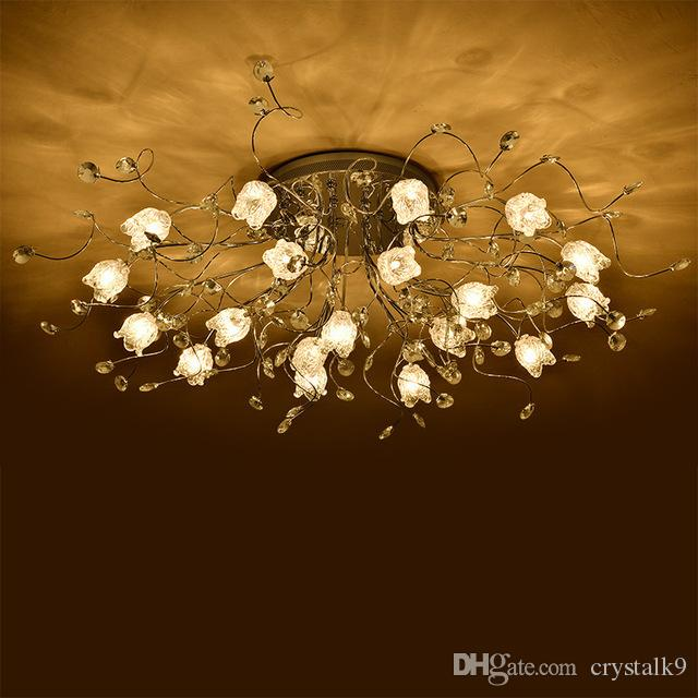Flower Styple LED Crystal Chandelier Creativity Crystal Ceiling Living Room Bedroom Modern Minimalist Restaurant Lamp Atmosphere
