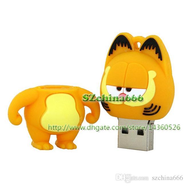 Cute Cartoon Garfield Cat Animal USB Flash Drive 2GB 4GB USB Drive Pen Drive 8GB 16GB Pendrive Flash Memory Disk