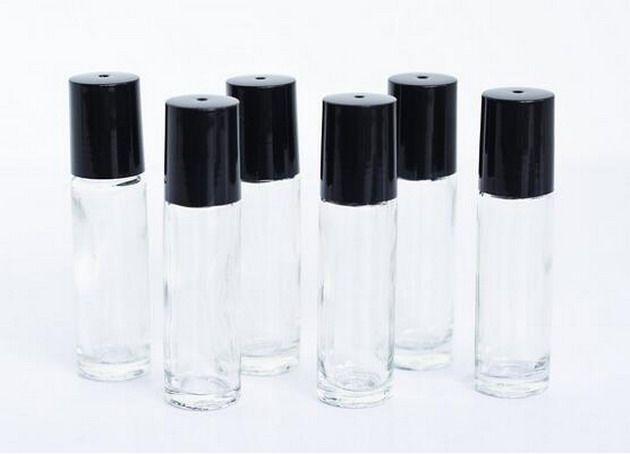 공장 가격 10ml 롤에 병 미니 오일 향수 병 검은 색 모자와 유리 병