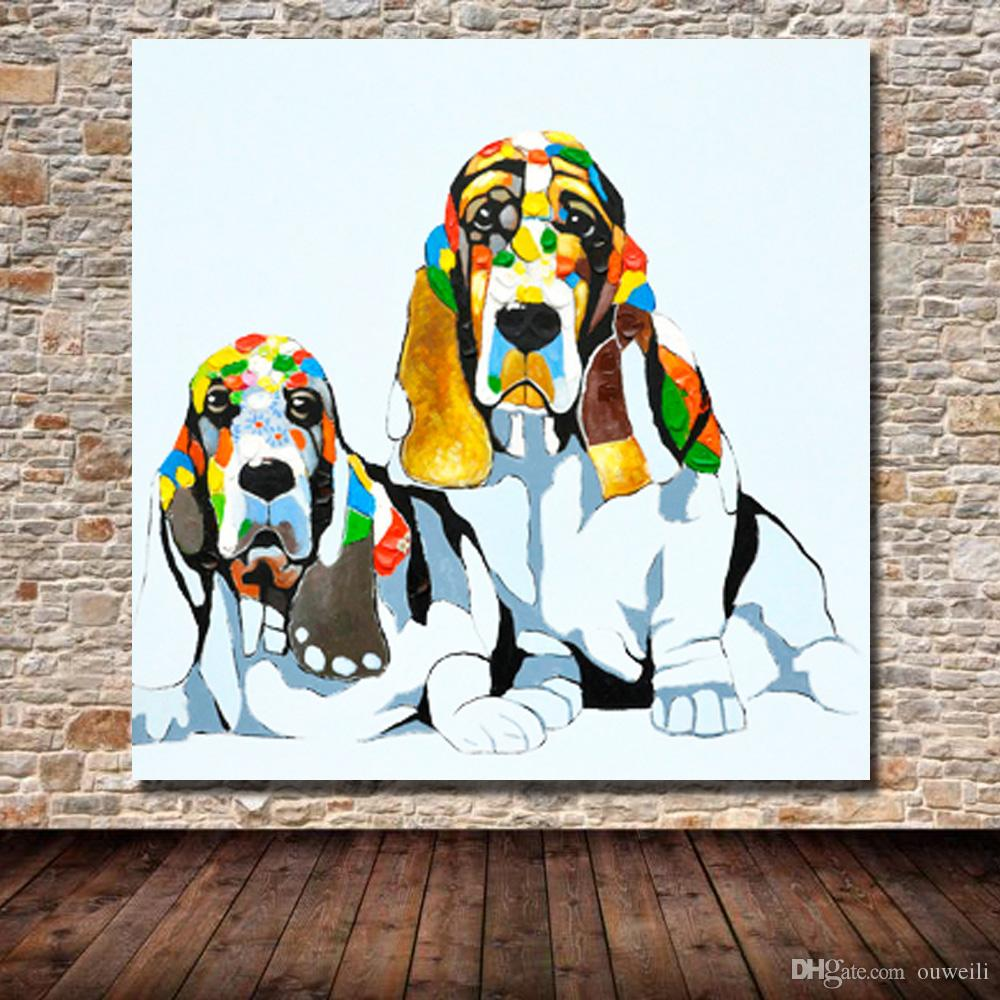 hand painted dog pop art image top quality pet dog oil painting images for wall dog pictures