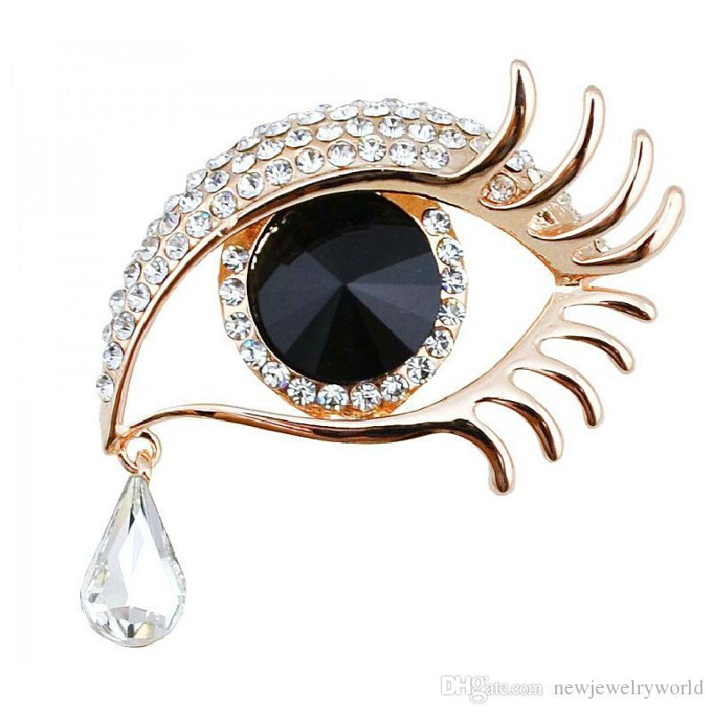 الفضة مطلي مذهلة الماس الفاخرة الدمعة بلورات معلقة قطرة العين الزرقاء بروش جميل طويل الرموش النساء هدية بروش دبابيس