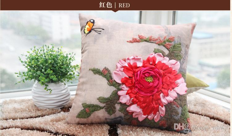 New Arrival Ribbon Pillow Case Creative Cross Stitch Unfinished DIY Pillow Cases Flowers Butterfly Floral Embroidery Gift