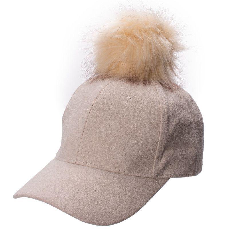 Nuevo estilo ajustable para mujer Unisex piel Pom Pom Suede gorra de béisbol Hip Hop Girls Hat A383