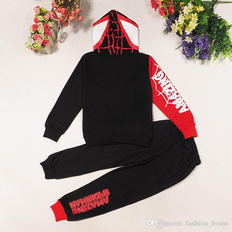 DHL KIDS Popular Spiderman Suits sets children hoodies + trousers Set baby boys girls Autumn Winter Spiderman cartoon Outfits