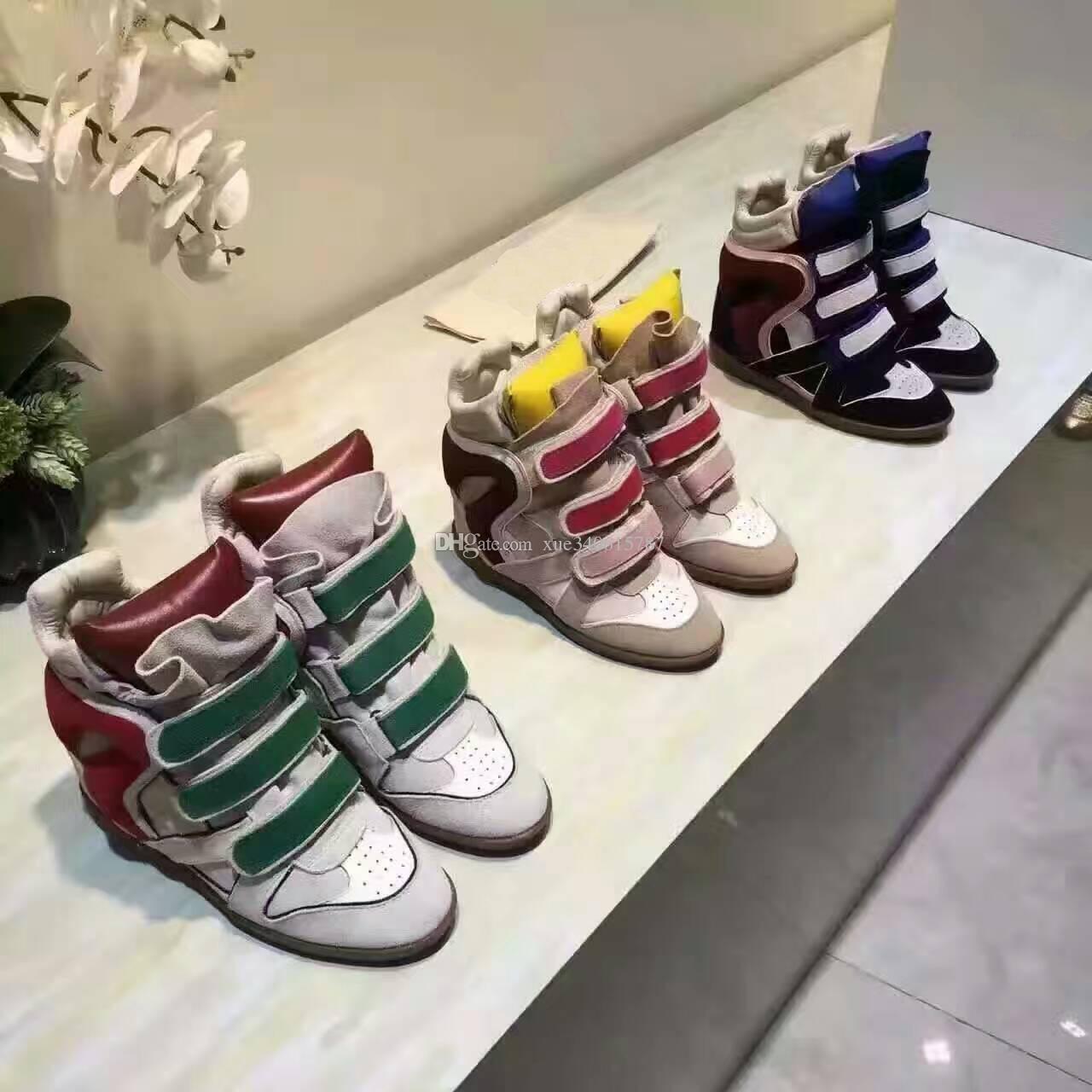 2016 neueste frauen Marke Design Bekett Schuhe Aus Echtem Leder Höhe Zunehmende High-top Wildleder Verdeckte Keil Stiefel Schuhe
