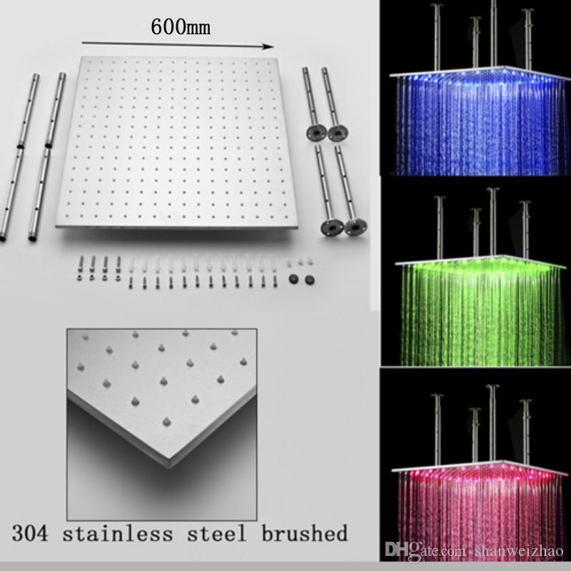 2018 Stainless Steel 24inch Shower Head Square Led Ceiling Rain ...