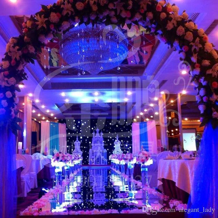 2018 Imagem de Fundo de casamento de luxo Supplies Decor Espelho Tapete Gold Silver Double Side Aisle Runner para decoração do partido