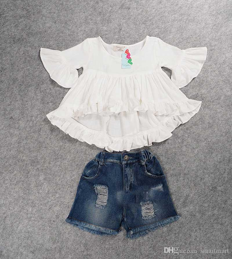 2016 New Sweet Kids Girls Ruffles Tops and Denim Shorts Outfits Sets Fall Summer Cute Children Clothing