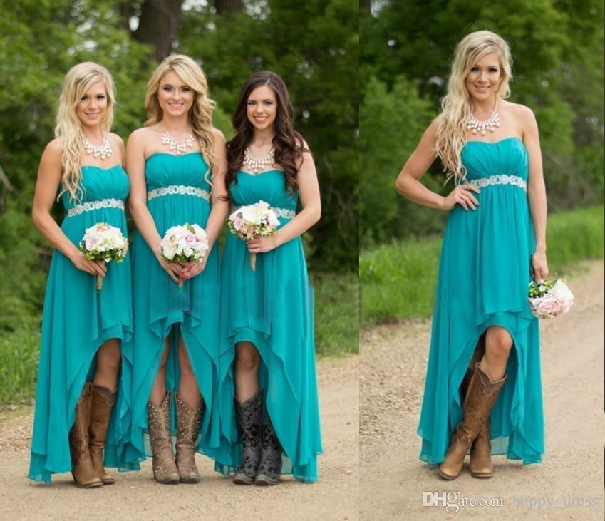 Cheap Country Beach Bridesmaid Dresses 2017 Turquoise High Low Maid ...