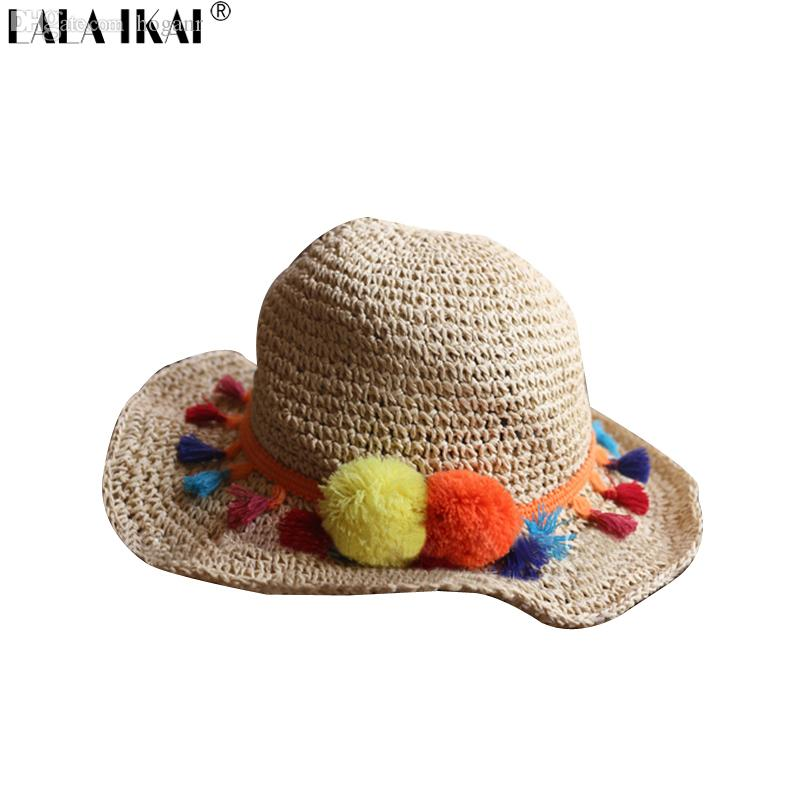 28ba8b03797 Wholesale Summer Tassel Wool Ball Colorful Women Straw Hats Foldable Hawaii  Mexico Hat For Womens Beach Large Brimmed Cap Girls ZWW0152 5 Men Hats Baby  Sun ...