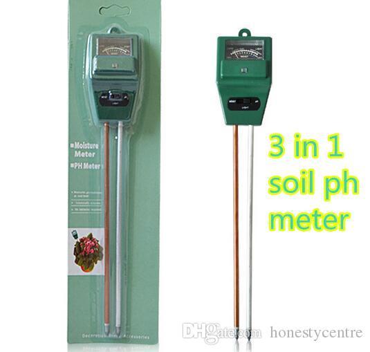 Nova Chegada 3 em 1 PH Tester Solo Detector De Umidade Da Água umidade Test Light Meter Sensor para Jardim Planta Flor