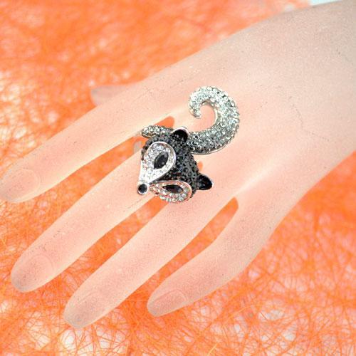 Design di lusso All Inlaying Strass Anelli di fidanzamento le donne Anelli di scoiattolo chunky stile Fox Oversized Cocktail Ring RN-384A