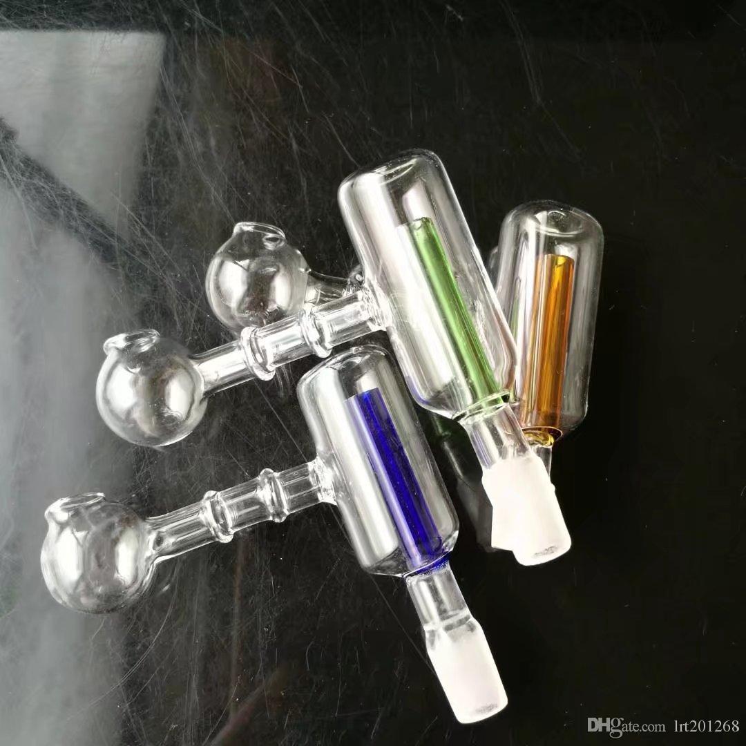 Queimador de filtro de duas rodas em linha reta, bongos De Vidro Por Atacado Queimador de Óleo Tubos De Vidro Tubos De Água Plataformas de Petróleo Fumando Frete Grátis