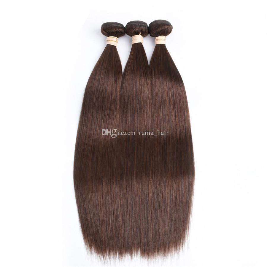 Light Brown Peruvian Straight Hair Wefts With Closure #4 Chocolate Brown Human Hair 3Bundles With 4x4 Lace Closure