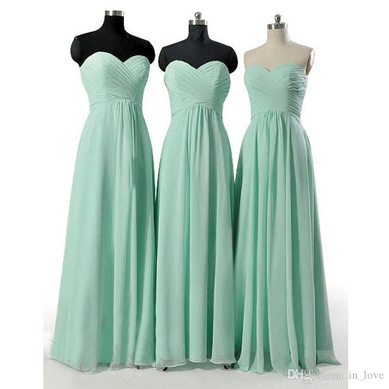 Bridesmaid Dresses US 6 8 10 12 14 16++ Lace Up Real Picture A-line Chiffon Mint Green Robe de Soiree Sweetheart Popular B001