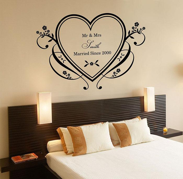 Custom Made Couple Name Walll Stickers Personalized Heart Wedding Wallpaper  Wall Decals Art Home Room Decor Ws345 Bedroom Decals For Walls Bedroom  Stickers ...