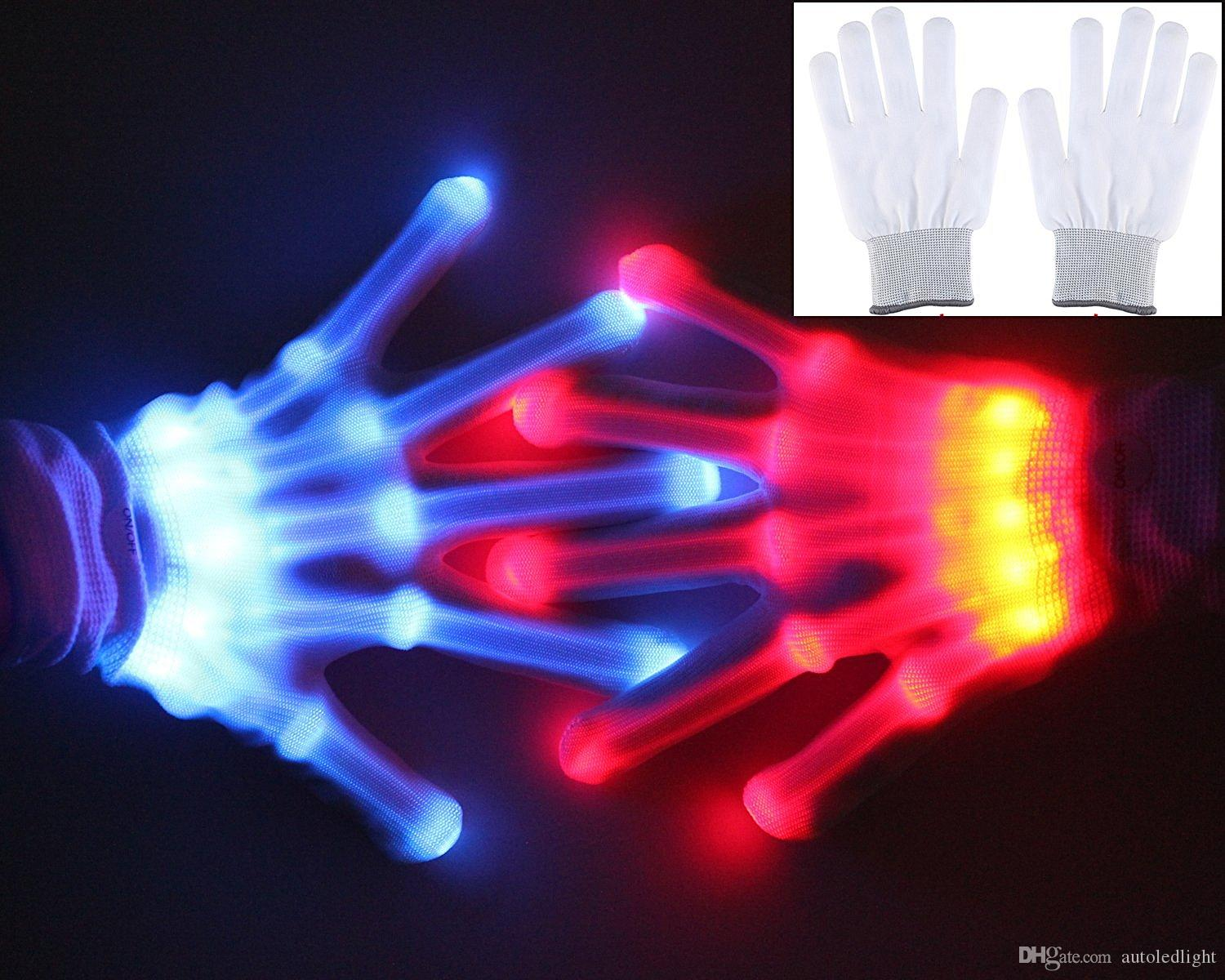 6 styles Multi-Color Electronic LED Flashing Gloves colorful led Light Up Halloween Dance Rave Party Fun