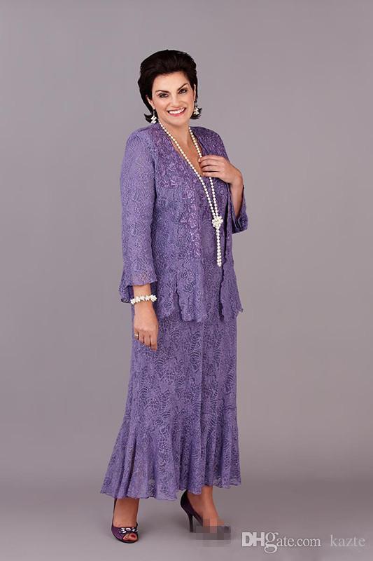 Lavanda Encaje Té vintage, talla grande Más tamaño Madre de la novia Vestidos con manga larga Chaqueta 2018 Madre Vestidos de ocasión formal
