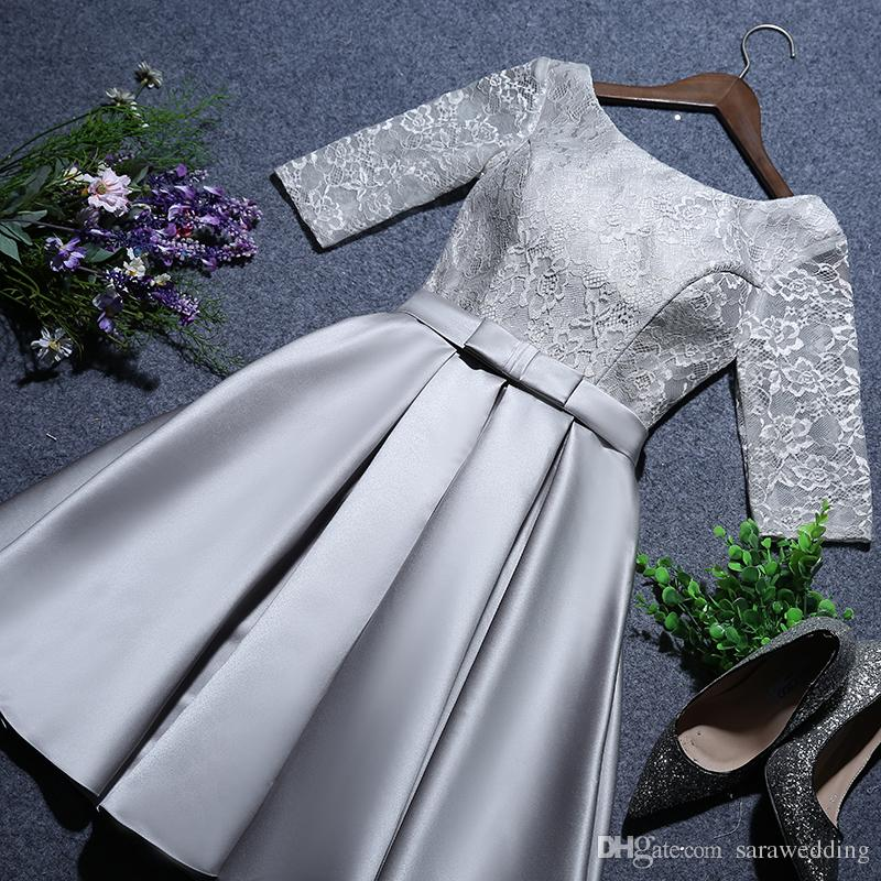 Lace Satin Short Bridesmaid Dress Lace Up 2019 Half Sleeves Wedding Formal Dresses Knee Length Party Dresses
