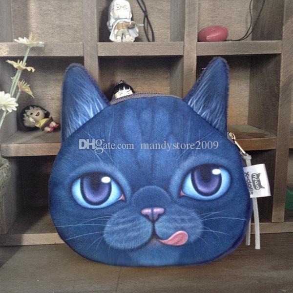 New Mini 3D Cat Bags Animal Face Purse Coin Bag Girls Kids Wallet Makeup Handbags Clutch Pouch Plus Colors Keys Phone Holder Bags