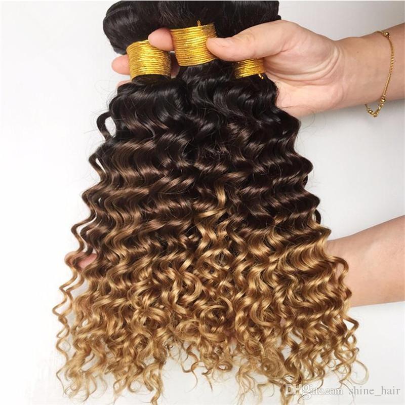 1B / / 27 4 Bal Sarışın Ombre Brezilyalı Derin Kıvırcık İnsan Saç Paketler Bakire Brezilyalı Üç Ton Ombre İnsan Saç Dokuma Derin Kıvırcık