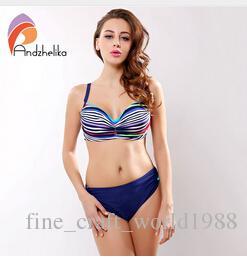 6f6caf48c837c 2019 AAA New Andzhelika Swimsuit Women Bikini Set Striped Bathing Suit  Large Cup Push Up Bikini Plus Size Swimwear Brazilian Maillot De Bain From  ...